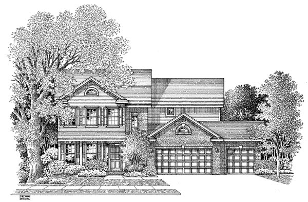 Colonial House Plan 54876 with 3 Beds, 2.5 Baths, 3 Car Garage Elevation