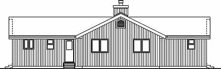 Cabin, Contemporary House Plan 55000 with 3 Beds, 2 Baths Rear Elevation