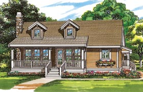 Country, One-Story House Plan 55022 with 2 Beds, 1 Baths Elevation