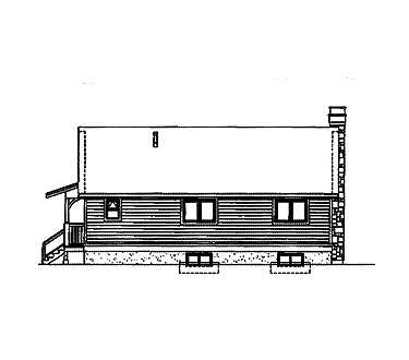 Country, One-Story House Plan 55022 with 2 Beds, 1 Baths Rear Elevation