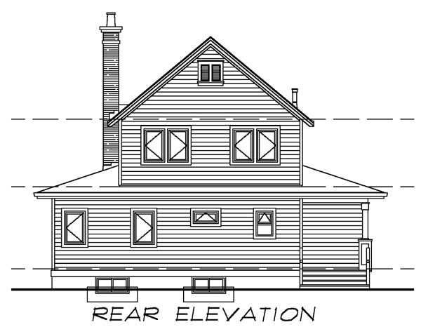 Farmhouse House Plan 55028 with 3 Beds, 3 Baths Rear Elevation