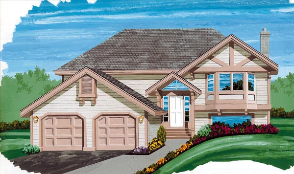 One-Story, Tudor House Plan 55098 with 3 Beds, 2 Baths, 2 Car Garage Elevation