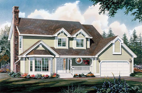 Country House Plan 55118 with 4 Beds, 3 Baths, 2 Car Garage Elevation