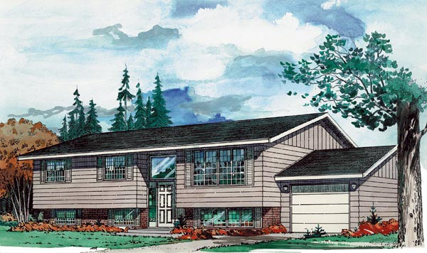 Contemporary, Retro House Plan 55139 with 3 Beds, 2 Baths, 1 Car Garage Elevation