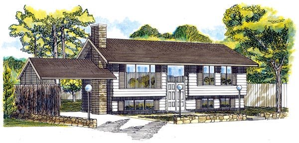 Retro, Traditional House Plan 55140 with 3 Beds, 2 Baths, 1 Car Garage Elevation