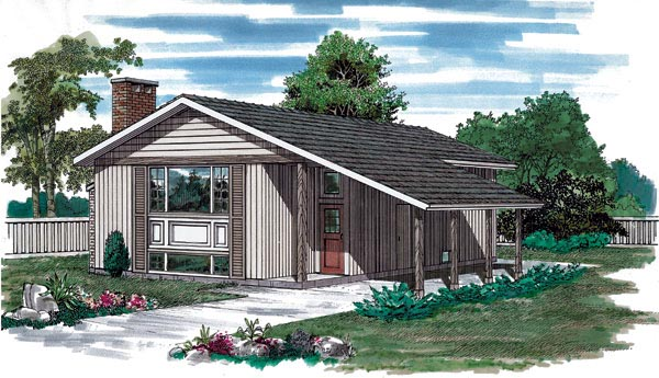 Contemporary, Narrow Lot House Plan 55148 with 3 Beds, 2 Baths, 1 Car Garage Elevation