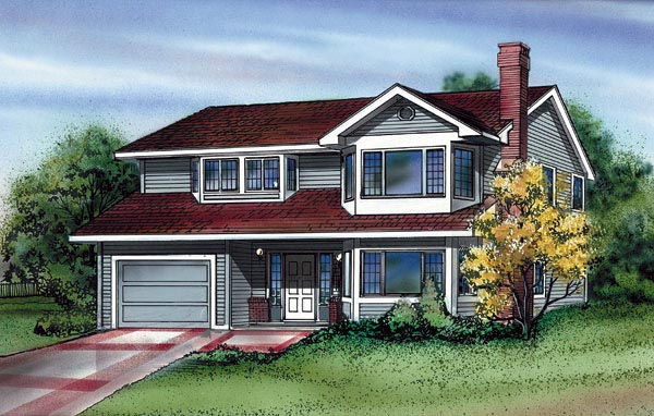 Narrow Lot, Traditional House Plan 55172 with 3 Beds, 2 Baths, 1 Car Garage Elevation