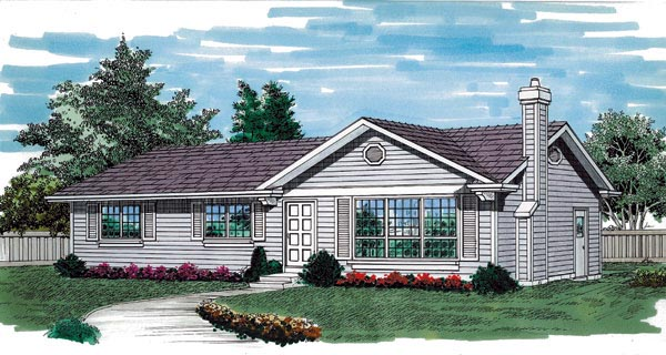 One-Story, Ranch House Plan 55256 with 3 Beds, 2 Baths, 1 Car Garage Front Elevation
