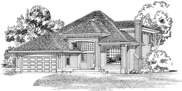 European House Plan 55291 with 3 Beds, 3 Baths, 2 Car Garage Front Elevation