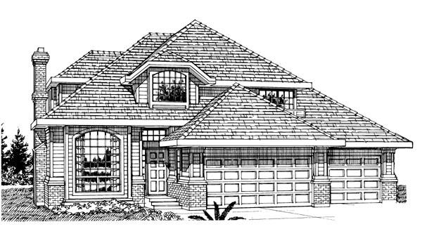 European, Narrow Lot House Plan 55302 with 3 Beds, 3 Baths, 2 Car Garage Elevation