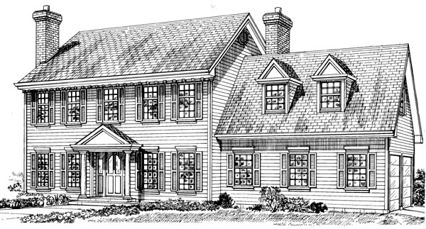 Colonial House Plan 55309 with 3 Beds, 3 Baths, 2 Car Garage Elevation