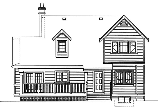 Country House Plan 55402 with 3 Beds, 2 Baths Rear Elevation