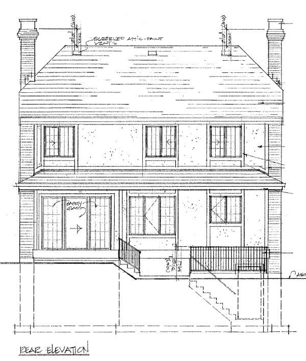 Narrow Lot, Tudor House Plan 55446 with 3 Beds, 3 Baths, 2 Car Garage Rear Elevation