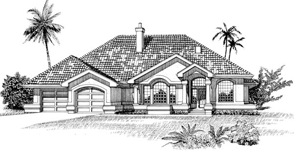 Mediterranean, One-Story House Plan 55482 with 3 Beds, 3 Baths, 2 Car Garage Front Elevation