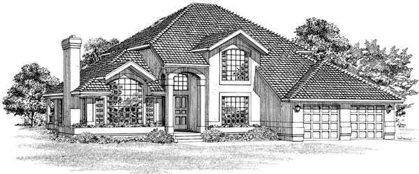 Mediterranean House Plan 55484 with 3 Beds, 3 Baths, 2 Car Garage Front Elevation
