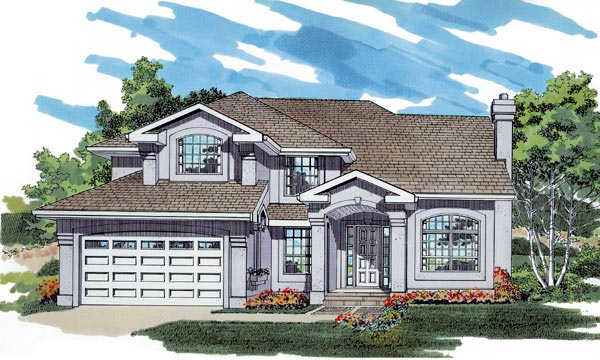 Mediterranean House Plan 55485 with 4 Beds, 3 Baths, 2 Car Garage Elevation