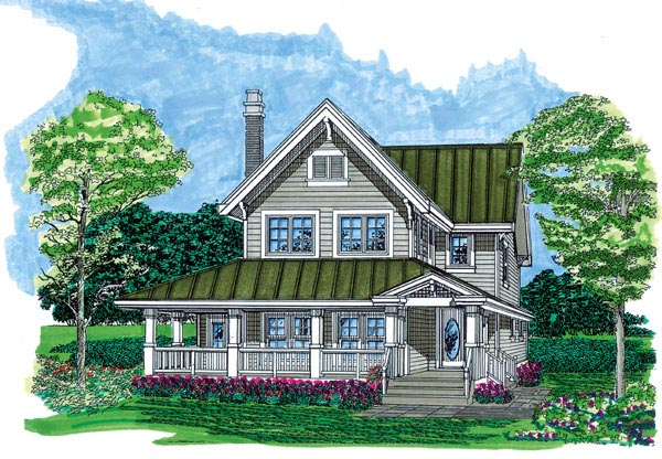 Farmhouse, Narrow Lot House Plan 55487 with 3 Beds, 3 Baths Front Elevation