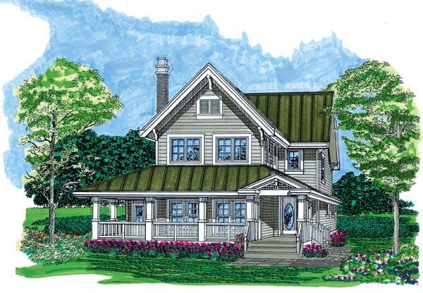 Farmhouse, Narrow Lot House Plan 55487 with 3 Beds, 3 Baths Elevation