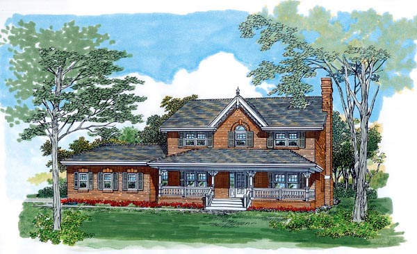 Farmhouse House Plan 55489 with 4 Beds, 3 Baths, 2 Car Garage Front Elevation
