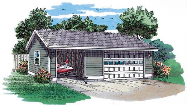 Traditional 3 Car Garage Plan 55533 Elevation