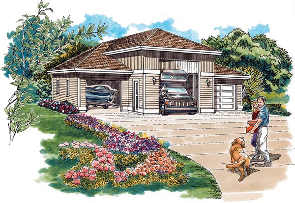 European 3 Car Garage Plan 55539, RV Storage Elevation