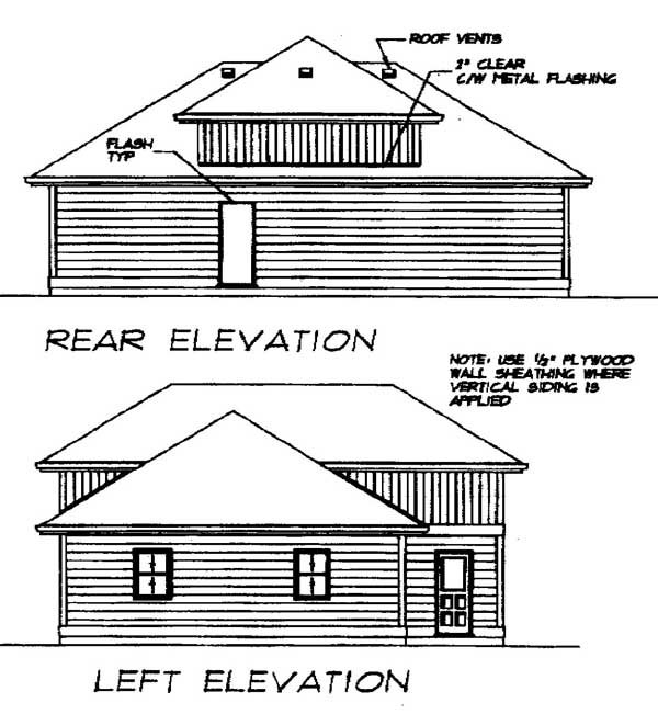 European 3 Car Garage Plan 55539, RV Storage Rear Elevation