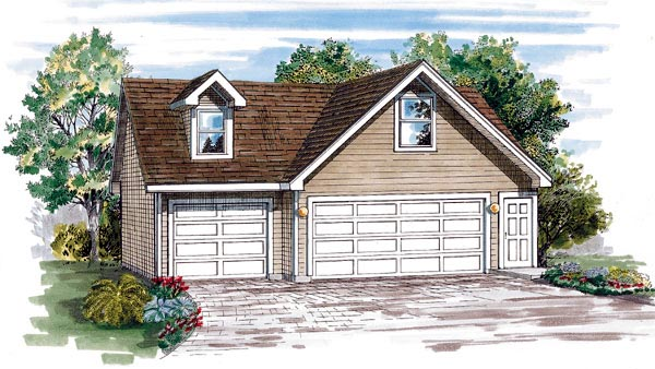 Traditional 3 Car Garage Plan 55545 Elevation