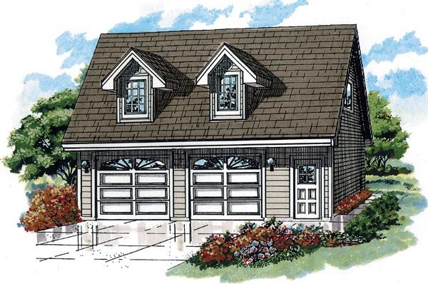 Cape Cod 2 Car Garage Apartment Plan 55546 with 1 Beds, 1 Baths Front Elevation