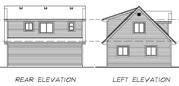 Cape Cod 2 Car Garage Apartment Plan 55546 with 1 Beds, 1 Baths Rear Elevation