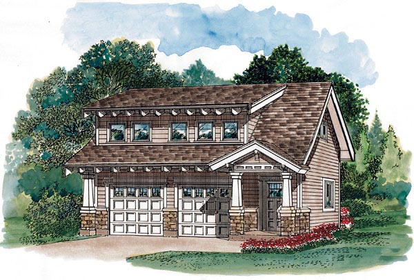 Craftsman 2 Car Garage Apartment Plan 55548 with 1 Beds, 2 Baths Elevation