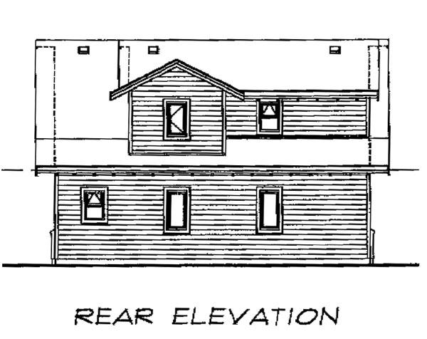 Craftsman 2 Car Garage Apartment Plan 55548 with 1 Beds, 2 Baths Rear Elevation
