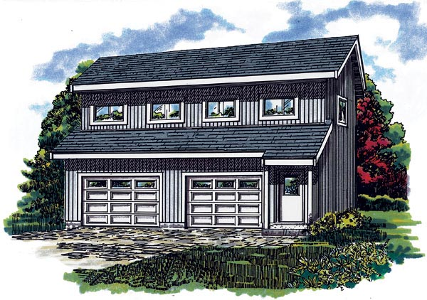 Contemporary 2 Car Garage Apartment Plan 55550 with 1 Beds, 1 Baths Elevation