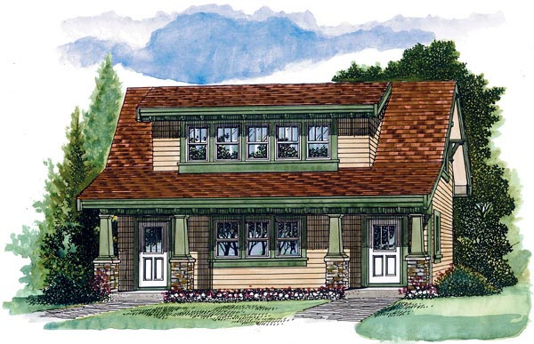 Craftsman 2 Car Garage Apartment Plan 55553 with 1 Beds, 1 Baths Front Elevation