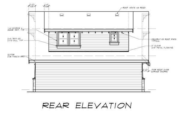 Craftsman 2 Car Garage Apartment Plan 55553 with 1 Beds, 1 Baths Rear Elevation