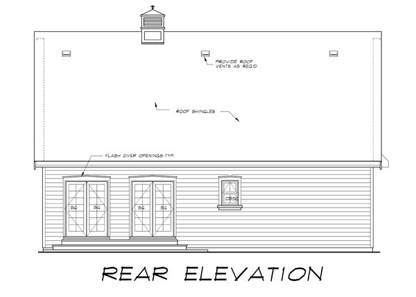 Tudor House Plan 55555 with 2 Beds, 2 Baths, 2 Car Garage Rear Elevation