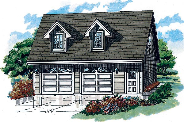 Country 2 Car Garage Plan 55556 Front Elevation