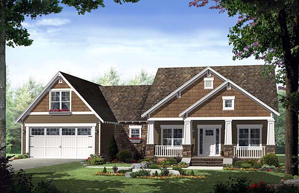 Cottage, Country, Craftsman, Southern House Plan 55600 with 3 Beds, 2 Baths, 2 Car Garage Front Elevation