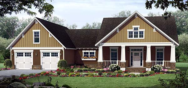 Cottage, Country, Craftsman, Southern House Plan 55601 with 3 Beds, 3 Baths, 2 Car Garage Front Elevation