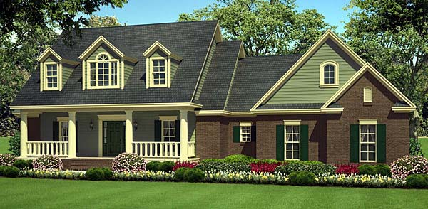 Country, Farmhouse, Southern, Traditional House Plan 55602 with 3 Beds, 2 Baths, 2 Car Garage Elevation