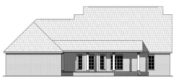 Country, Farmhouse, Southern, Traditional House Plan 55602 with 3 Beds, 2 Baths, 2 Car Garage Rear Elevation