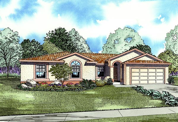 One-Story House Plan 55712 with 4 Beds, 2 Baths, 2 Car Garage Front Elevation