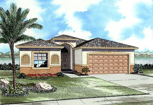 One-Story House Plan 55714 with 3 Beds, 2 Baths, 2 Car Garage Front Elevation
