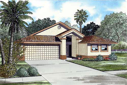 Narrow Lot, One-Story House Plan 55715 with 3 Beds, 2 Baths, 2 Car Garage Front Elevation