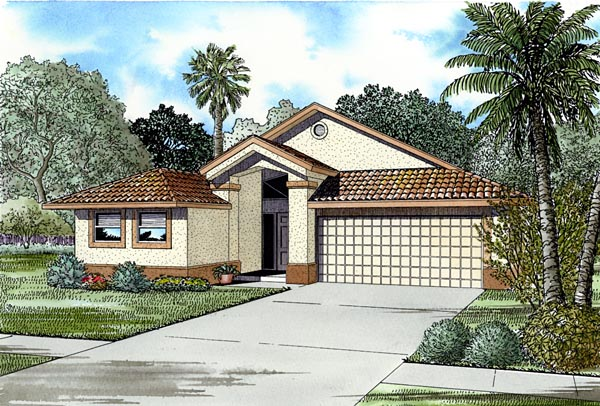 Florida, Narrow Lot, One-Story House Plan 55721 with 4 Beds, 3 Baths, 2 Car Garage Front Elevation