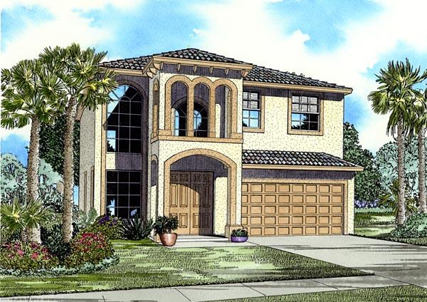 Florida, Narrow Lot House Plan 55723 with 5 Beds, 3 Baths, 2 Car Garage Elevation