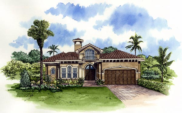 Mediterranean, One-Story House Plan 55732 with 3 Beds, 5 Baths, 2 Car Garage Elevation