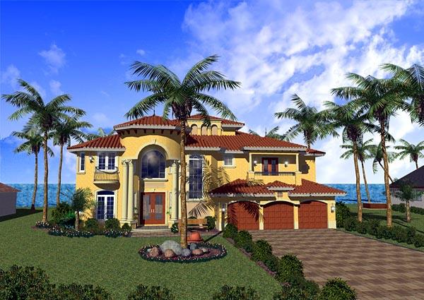 Mediterranean House Plan 55765 with 5 Beds, 7 Baths, 3 Car Garage Elevation