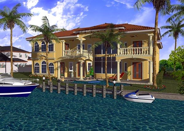 Mediterranean House Plan 55765 with 5 Beds, 7 Baths, 3 Car Garage Rear Elevation