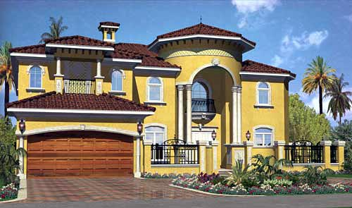 Mediterranean House Plan 55779 with 6 Beds, 7 Baths, 2 Car Garage Elevation