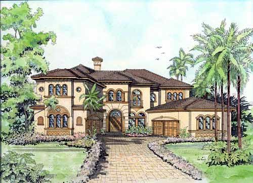 Italian, Mediterranean House Plan 55786 with 5 Beds, 6 Baths, 3 Car Garage Elevation